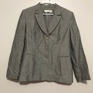 Tahari Gray Pinstripe Long Sleeve Blazer Jacket
